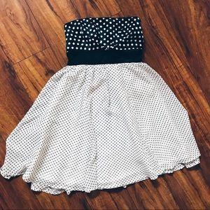 Strapless Polka Dot Mini Dress Black White (Cute)